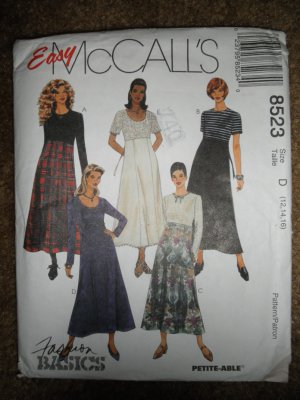 McCall's Sewing Pattern 8523 Misses Size 12 14 16 High Waisted Dress Uncut