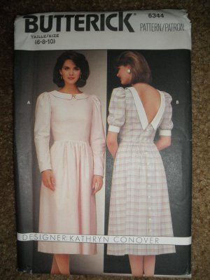 Butterick Sewing Pattern 6344 Misses Size 6 8 10 Back Button Dress Uncut