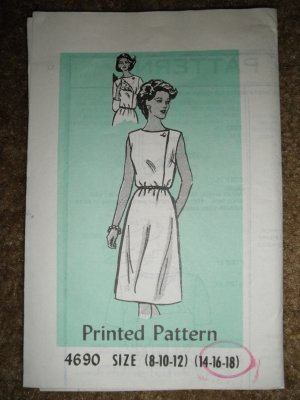 Vintage Sewing Pattern 4690 Misses Size 14 16 18 Dress Uncut