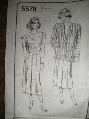 Sewing Pattern 5578 Misses Size 8 10 12 14 16 18 Top Skirt Jacket