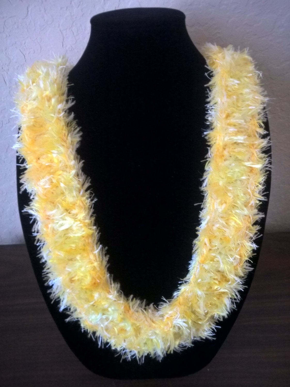 Hawaiian lei Christina flat orchid crochet w/ yellow eyelash yarn