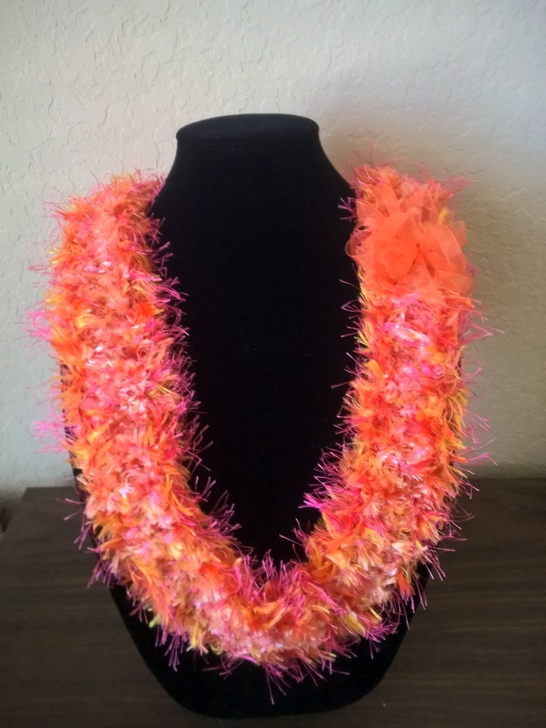 Hawaiian lei Christina flat orchid crochet w/ pink orange yellow eyelash yarn