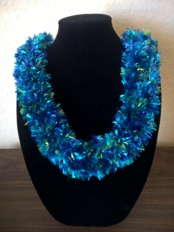 Hawaiian knit lei w/ blue green multi-color eyelash yarn