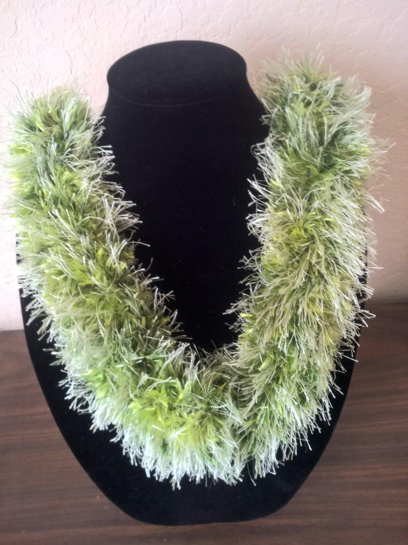 Hawaiian lei hat band knit w/ multi-color green eyelash yarn