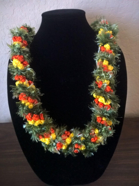 Hawaiian lei crochet w/ green eyelash yarn yellow orange satin ribbon rosette