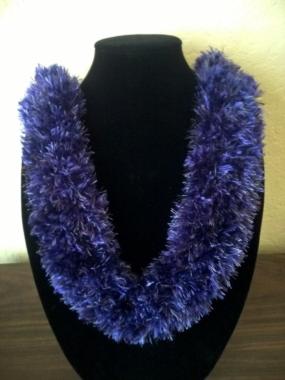 Hawaiian hat band lei knit w/ multi-color purple eyelash yarn