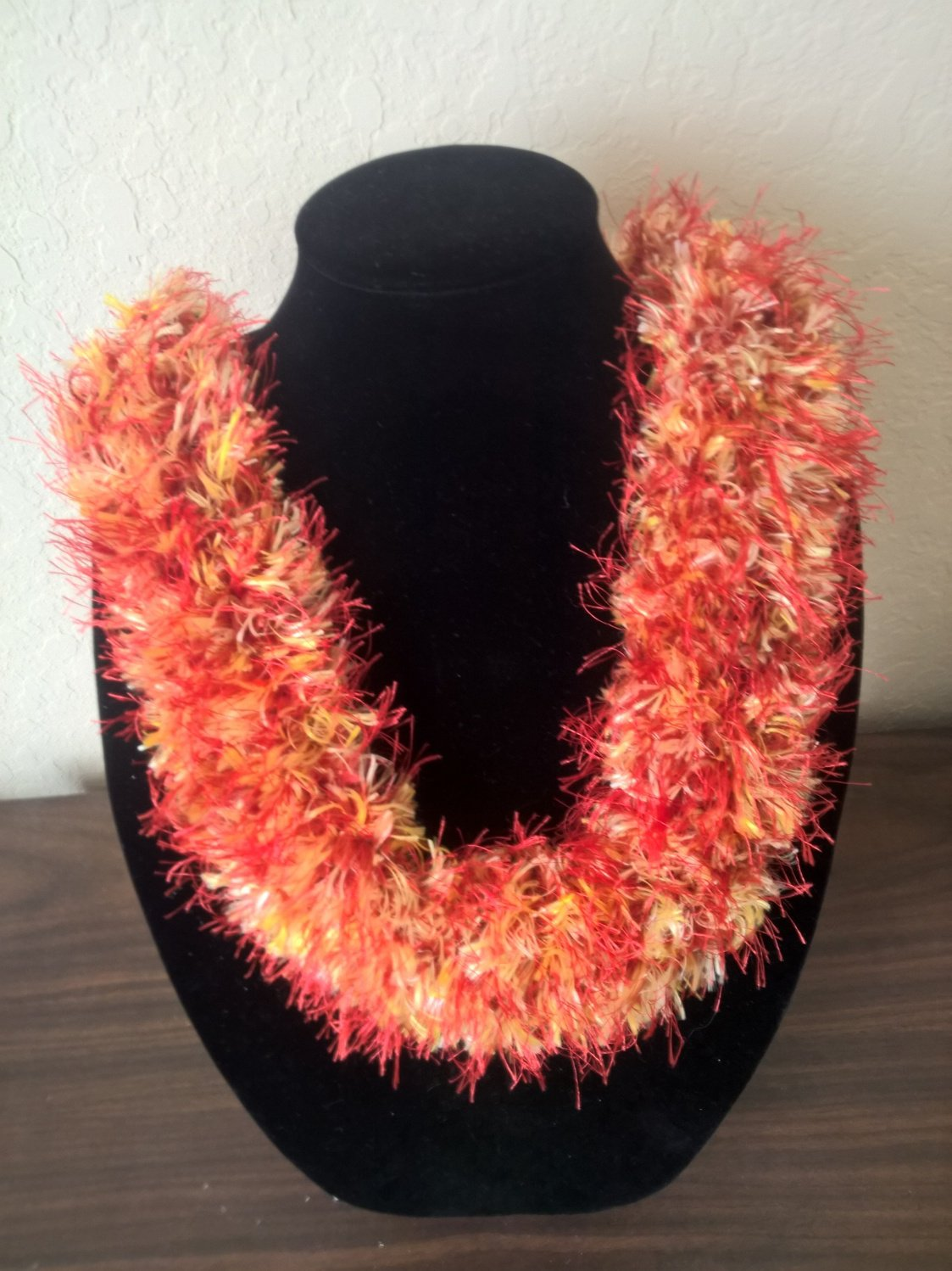 Hawaiian lei hat band knit w/ red orange yellow beige eyelash yarn