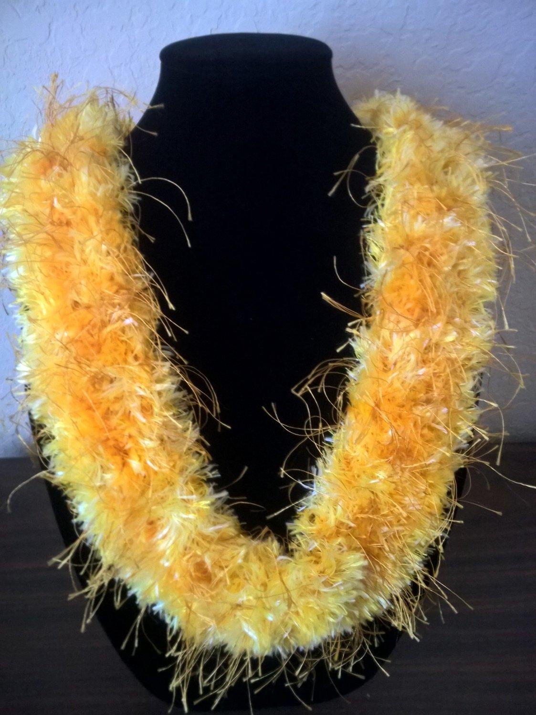 Hawaiian lei knit  w/ multi-color yellow gold eyelash yarn