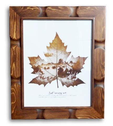 HANDMADE PRESSED LEAF SCULPTURE, FRAMED LEAF D�COR LEAF FLOWER BOTANICAL ART CRAFT 02