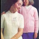 1970s Vintage Knitting Pattern Twin Set Teens