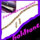 "Bracelet & Earring Set Tennis -w/Box - Goldtone Size 7"""