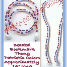 Beaded Bookmark Thong #09 Patriotic Color Beads 16 inch NEW