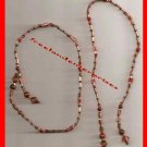 Beaded Bookmark Thong #03 Brown & Copper Beads 16 inches