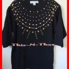 Womens Victoria Harbour Embellish Bead Pullover Top Lg