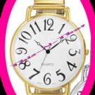Watch Casual Easy To Read Quartz GOLDTONE Stretch Band
