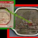 "Snack Trays Currier & Ives Set 4 Box 6 1/4"" X 7 1/2""VTG"