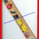 School Decorative 12 inch Ruler with 8 small wood pictures