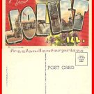 Post Card IL Greetings from Joliet, Illinois VTG Linen unused