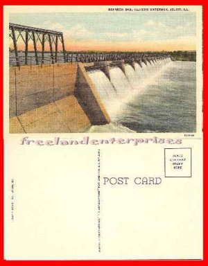 Post Card IL Brandon Dam, Joliet ILL Waterway VTG Linen1930-50