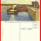 Post Card IL Barges Going Through Brandon Locks Joliet ILL VTG