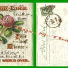Post Card 00 Good Luck 4 Leaf Clover VTG 1908 1 Cent Stamp