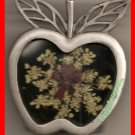 Photo Frame Pewter Apple w/Real Dried Flowers Stand Up