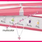 Necklace CZ Days of the week Silvertone Set - 5 Colors