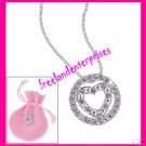 Necklace Circle Heart Silvertone Pendant +Pink Pouch NU