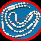 """Necklace Beads White SARAH COVENTRY Lucite & Gold 40"""" VTG"""