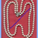 Necklace Beads White Pearl Type 2 Strand ?Vintage? Strung Separate & Rhinestones