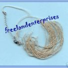 "Necklace Beads Multi Strand Silver Seed 18""with 3"" extender"