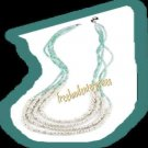 Necklace Beads Multi Strand Sea and Sky Necklace -GREEN
