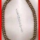 Necklace Beads Brown Transparent & Goldtone Beads #139