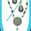 Necklace & Earring Gift Set Turquoise Colored & Brown Medallion ~Slvrtn-FauxWood