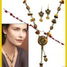 Necklace & Earring Gift Set Tigers Eye Medallion ~Beaded Burnished Brasstone NEW