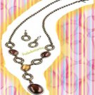 "Necklace & Earring Gift Set Simple Glam ""Y"" BROWN ~ NEW Boxed"