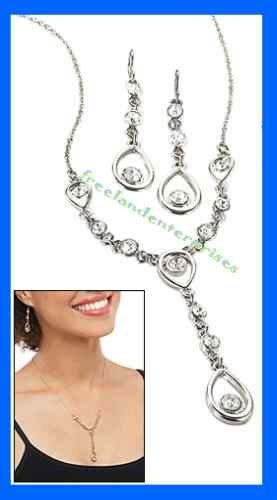 "Necklace & Earring Gift Set Shimmering Teardrop Link ""Y"" Silvertone-Crystal Acct"