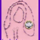 Necklace & Bracelet & Earring Gift Set Purple Beads & Pouch---Purple Beads