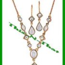 "Necklace & Earring Gift Set Pretty Pearlesque White ""Y"" Cobochons & Goldtone"