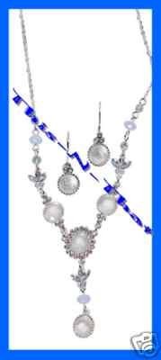 "Necklace & Earring Gift Set Pretty Pastel ""Y"" Cat's Eye & Irridescent Bead White"