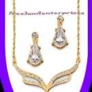 Necklace & Earring Gift Set Pear Drop Pendant Goldtone NEW Boxed