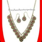 Necklace & Earring Gift Set Open Air Coin Inspired ~Burnished Brass~Faux Stones~