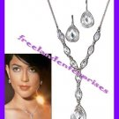 Necklace & Earring Gift Set Mod Faceted Gift Set ~Silvertone~ NEW Boxed