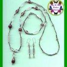 Necklace & Bracelet & Earring Gift Set Mauve Beads & Pouch---Mauve Beads