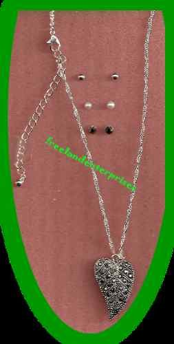 Necklace & Earring Gift Set Leaf Pendant with 3 Pair Earrings Silvertone NEW