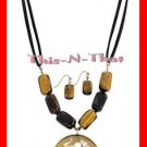 Necklace & Earring Gift Set Goldtone Medallion and Genuine Tiger's Eye NEW Boxed
