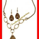 "Necklace & Earring Fab Faux Semi-Precious Gift Set ""Tigers Eye"" Burnished Brass"