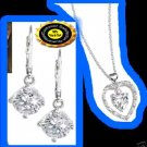 Necklace & Earring CZ Leverback Rhinestone Double Heart Necklace Silvertone NEW