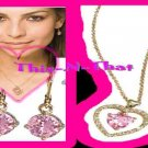 Necklace & Earring CZ Leverback Rhinestone Double Heart Necklace Goldtone PINK