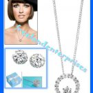 Necklace & Earring CZ Circle Pendant & Dream CZ Silvertone Gift Set